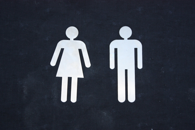 Male female bathroom signs laser cut metal signs for Male female bathroom sign images