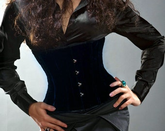 Velvet waist corset, different colors. Authentic steel-boned. Gothic, steampunk, vintage, burlesque, cosplay, couture, bespoke prom corset