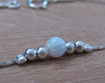 Opal bracelet, 4mm opal ball bracelet, opal silver bracelet,  tiny dot bracelet, opal bead bracelet, dot bracelet, white opal bracelet