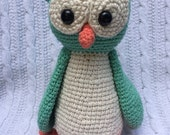 Crochet Owl Stuffed Animal - Handcrafted and 100% Cotton, Teal and Cream, Gender Neutral (Can also make custom colors)
