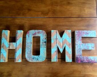 Home Letters Rustic Chevron Wall Decor