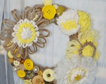 Yellow and White decorated wreath