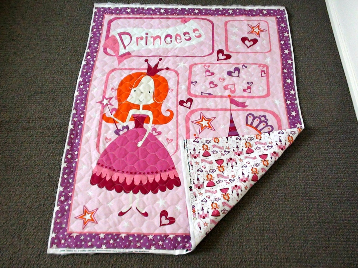 Princess Pre Quilted Fabric Panel Girls Nursery Cot Panel