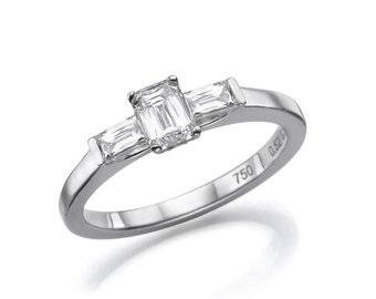 Three Stone Diamond Engagement Ring, 18K White Gold Ring, Unique Engagement Ring, 0.84 CT Three Stone Ring Size 6.5