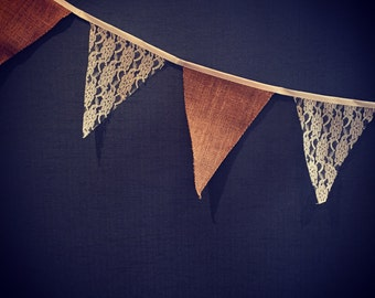 2.8m hessian & lace Vintage bunting/vintage wedding accessories