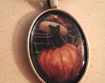 Black Cat in Pumpking Portrait Necklace