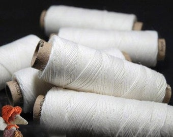 Set of Linen Thread 5/10/20 White Spools hand & machine quilting sewing craft lace jewelry