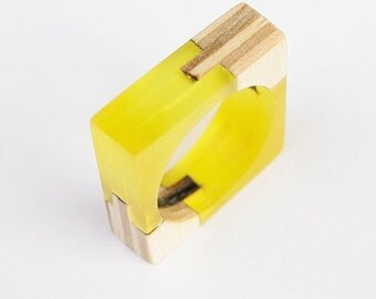 Fusion Ring, Wooden Ring, Acrylic Ring, Wooden Jewelry, Acrylic Jewelry