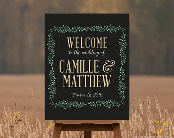 PRINTABLE Large Wedding Sign, Customized Welcome Sign, Reception Sign, Vintage Wedding Sign, DIGITAL FILE
