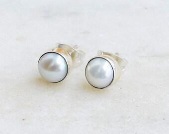 White Pearl Stud Earrings - Wedding Earrings - Gift for Her - 6 mm Genuine Pearls - Celeb Earrings - Handmade Earrings -