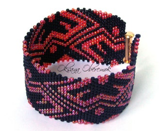 Red Rose bracelet Beaded cuff Beadwork jewelry Ukrainian