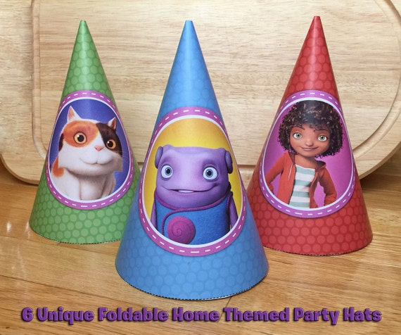6 DIY Home Party Hats - Download, Print, Roll and Glue - Dreamworks Home Movie Party Hats Home Hats Printable Dreamworks Home Party Hats