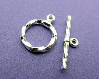 New 11mm Ring with 18mm Bar 925 Sterling Silver Twisted Toggle Clasp, 1 Set
