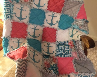 Teal and Coral Anchor Quilt