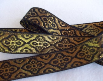 "Metallic Gold and Black Woven Ribbon 1-1/16"" (27mm)"
