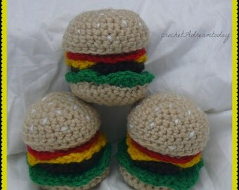 crochet burger cat toy