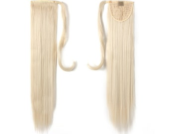 "24"" Long Straight Wrap Around Synthetic Hair Ponytail Extension 130g (60#-Platinum Blonde)"