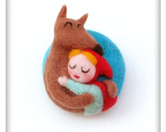 Little Red Riding Hood and Wolf, Needle felted Brooch, Wearable Art, Wool Sculpture, One of a kind jewelry