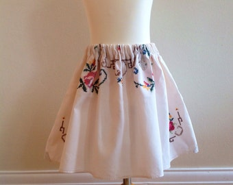 Girls skirt, children's clothing, vintage, recycled tablecloth, up cycled,