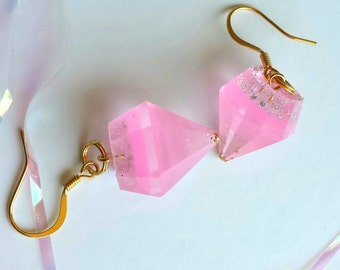 Bubbelgum Pink and Gold Glitter Diamond Resin Earrings with 14k Gold Hooks
