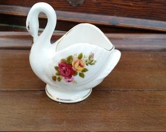 cottage rose china swan