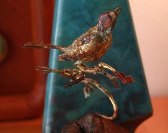 """Reduced! Mid Century Sculpture """"Bird on A Branch"""" signed Bill Lett"""