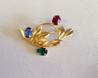 Vintage Floral and Leafs Pin