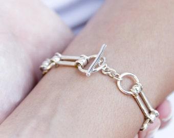 Sterling silver bracelet - silver bracelets - handmade bracelets for women - sterling silver chain bracelet - sterling silver link bracelet