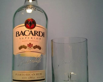 Bacardi ®  Tall Recycled Glasses ( Set of 4 ) Liquor Bottle Tumblers