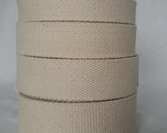 2 YARDS X Cotton Heavy Canvas webbing in 20,25,32,38,50 MM width for hand bag belting Tapes -Beige/Natural color