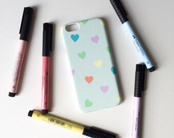Pastel Hearts iPhone 7 case / glossy iPhone 7 case / pastel iPhone 7 case / cute iPhone 6S / girly iPhone se case