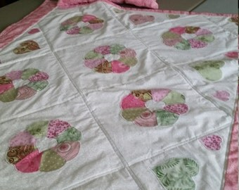 1930's Replica Flower and Heart Lap Quilt