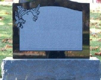 Cemetery Headstone Jet Black Granite Tombstone Grave Marker Monument Memorial Hummingbird