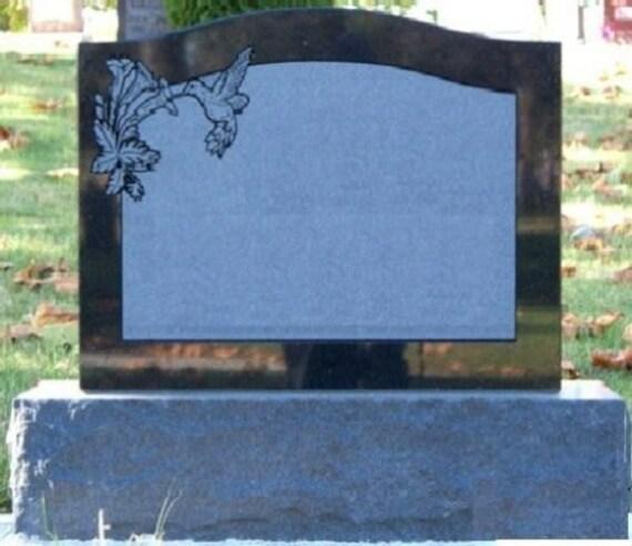 Black Granite Headstones : Cemetery headstone jet black granite tombstone grave marker