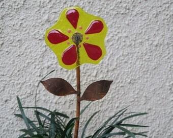 Glass Garden Art, Forever Flowers, Balcony Garden Art, Gift for Gardener, Flower Garden Stake, Grafted Garden Art