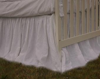 Crib bed skirt, linen dust ruffle, adjustable design for easy transition. custom crib bedding, neutral crib bedding
