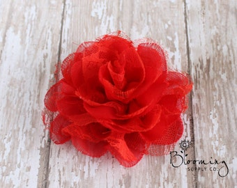 CLEARANCE! Red Chiffon & Lace Flower - DIY Red Lace Flower - Hair Flower Supplies - Wholesale Flowers - Baby Headband Supplies