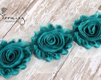 CLEARANCE! Teal Shabby Rose Trim - 1/2 Yard Shabby Chiffon Rose Trim - Wholesale Flowers - Boutique Hair Supplies - DIY Headband Supplies