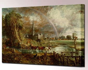 Constable Paintings - Salisbury Cathedral Water Meadows Canvas Wall Art Print in 4 Sizes Ready to Hang