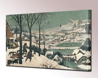 Hunters in the Snow Canvas Wall Art Print Pieter Brueghel Ready To Hang Home Decor