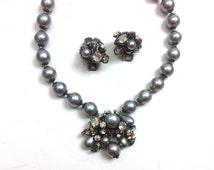 DeMario Jewelry Set 50s Grey Beaded Necklace & Earrings | Costume Jewelry