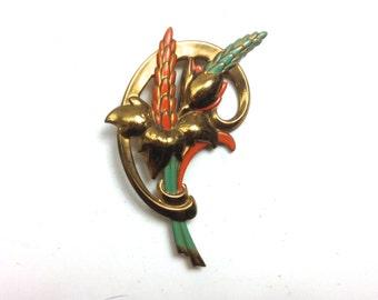 30s Enamel Brass Flower Brooch   Floral Pin