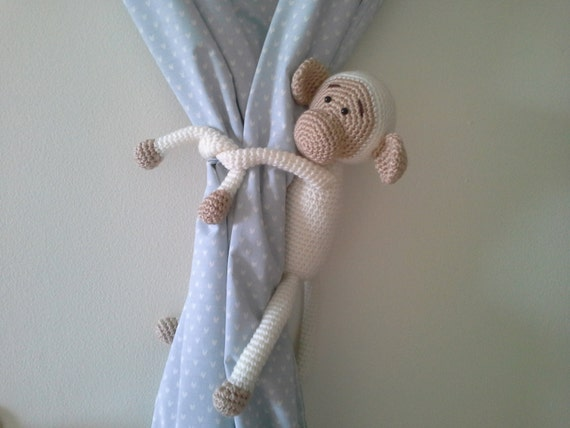 Monkey Curtain Tie Back, Crochet Monkey, Amigurumi, White ...