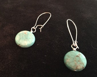 Turquiose briolette disc earrings on sterling kidney wire