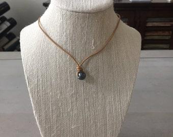 Black Loop Pearl Leather Necklace