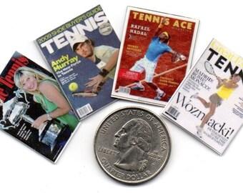 4 Miniature   'TENNIS'   Magazines  -  Dollhouse 1:12 scale