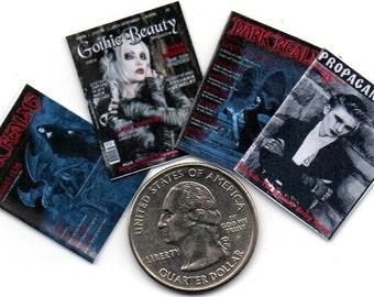 4 Miniature  'GOTHIC'  'GOTH'   Halloween Magazines  -  Dollhouse 1:12 scale IGMA