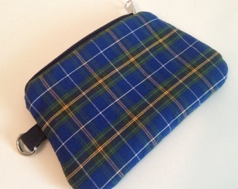 Little zippy pouch - Gorgeous Nova Scotia Tartan fabrics - dark blue & green plaid with red, white and yellow