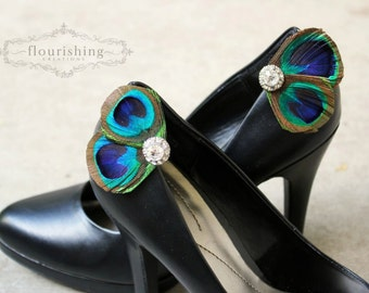 Peacock Shoe Clip Set, shoe clips, bridal clips, bridal shoe accessories, bridemaids shoe clips