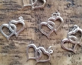 Silver Plated Double Heart Charms